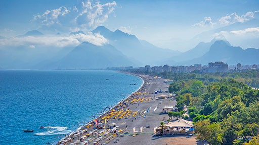 Famous Konyaaltı Beach in Antalya