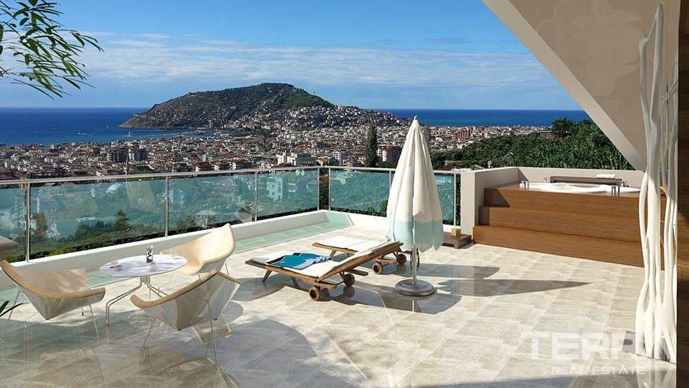 Spacious apartments with panoramic Alanya view