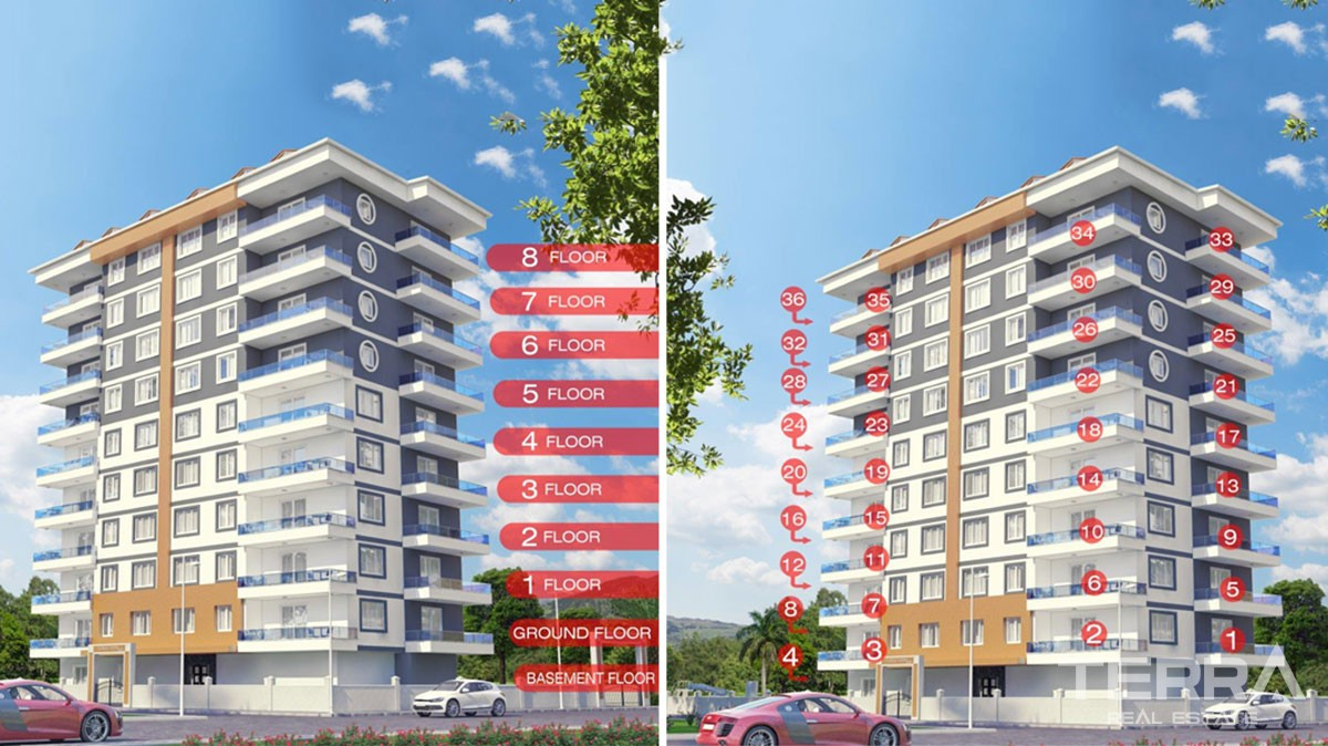 Brand new luxury apartments for sale in Mahmutlar, Alanya